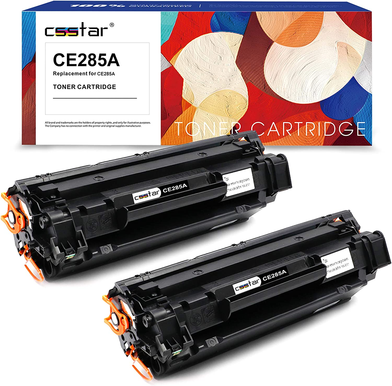 CSSTAR Compatibile Cartuccia di toner per HP 85A CE285A per LaserJet Pro P1102W P1102 M1132MFP M1217NFW M1212NF M1132 P1100 M1136 M1210 M1212 M1213NF Stampante 2 Pezzi Nero
