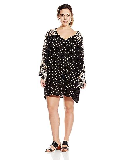 Angie Women\'s Juniors Plus-Size Black Printed Bell-Sleeve Dress