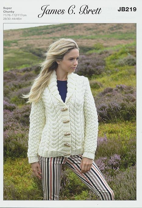James Brett Amazon Super Chunky Knitting Pattern Ladies Button Up