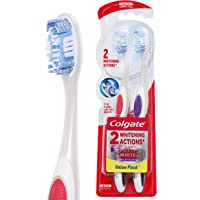 Colgate 360° Optic White Platinum Medium Manual Toothbrush, 2 Pack