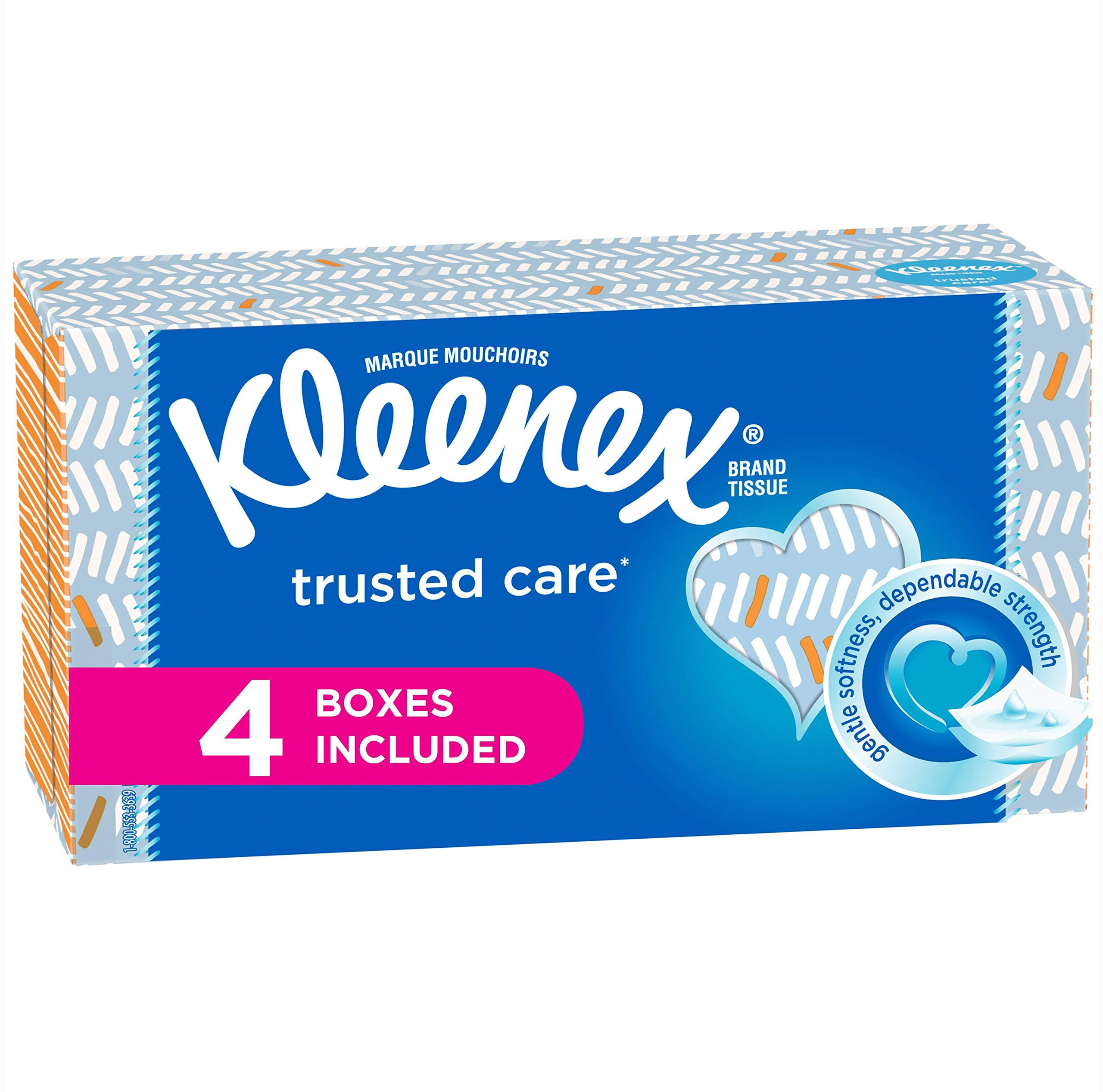 Kleenex Trusted Care Everyday Facial Tissues, Flat Box, 160 Tissues per Flat Box,