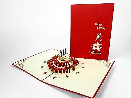 Tarta de cumpleaños Pop Up Tarjeta de felicitación, diseño ...