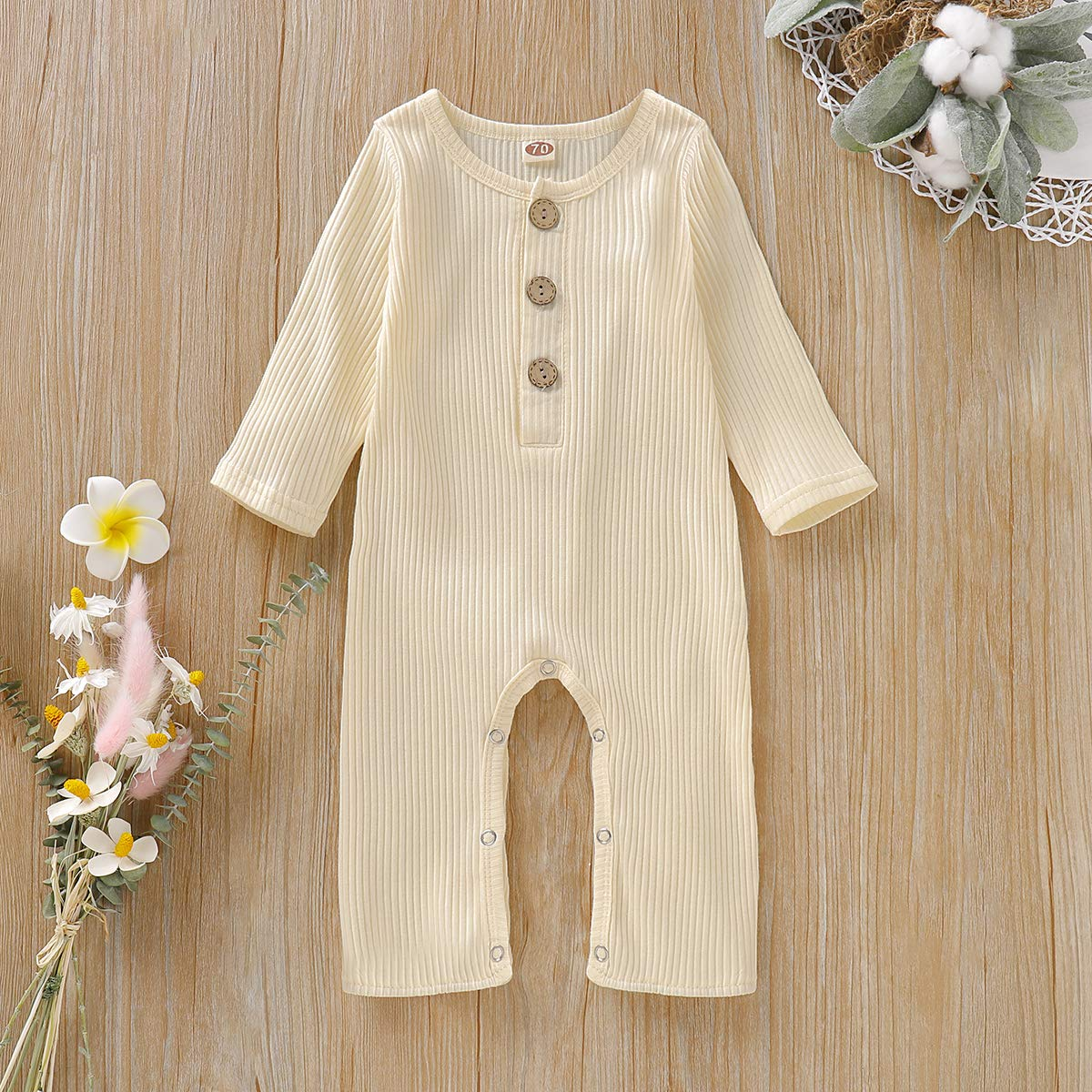 Newborn Baby Girl Jumpsuit Cotton Linen Ruffle Romper Onesies Long Sleeve Bodysuit Infant Baby Clothes Girl