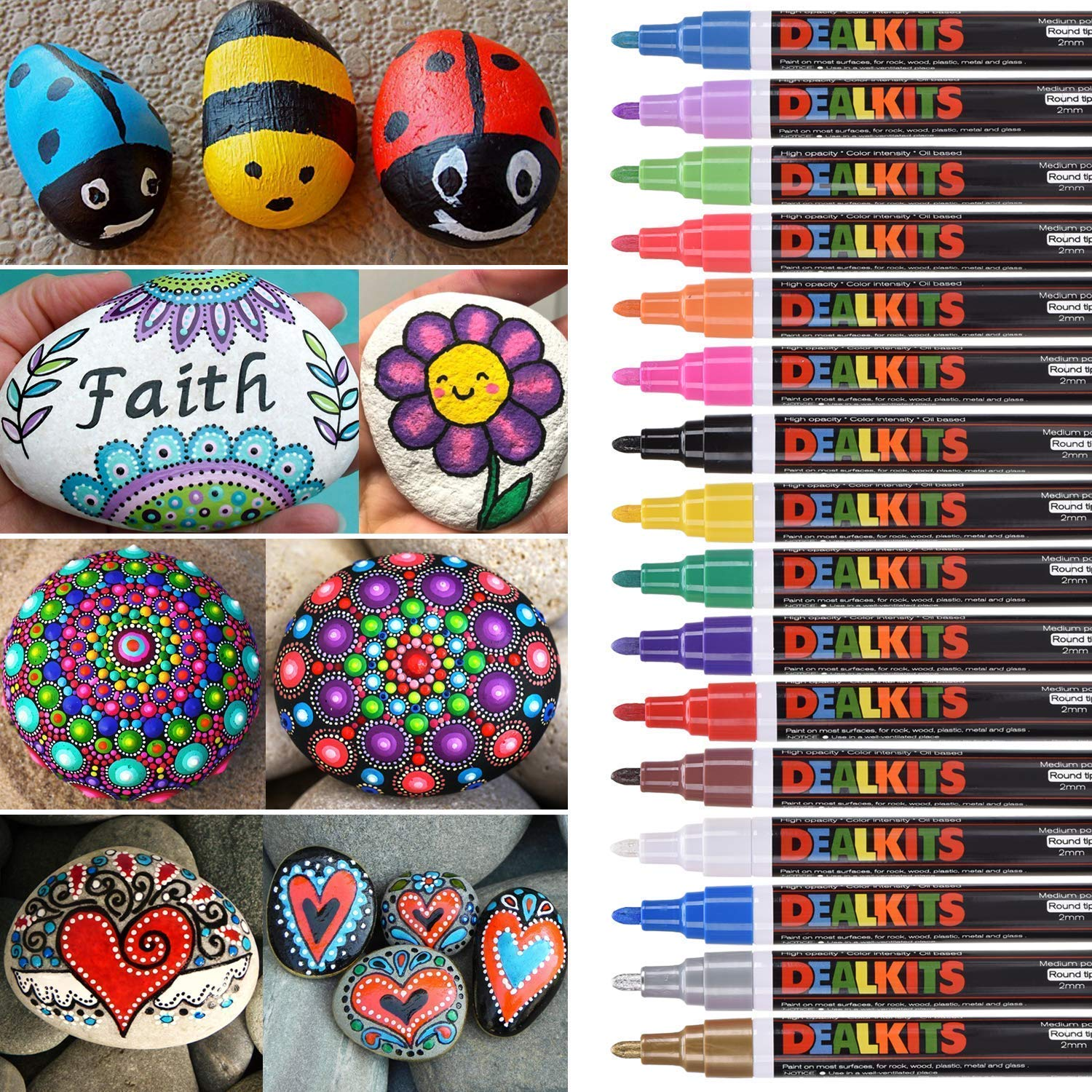 DealKits 16 Colors Paint Marker Pens for Rock Painting [Oil-Based] [Quick Dry] [Water Resistant] for Art Rock Painting Wood Glass Metal and Ceramic, Medium Tip