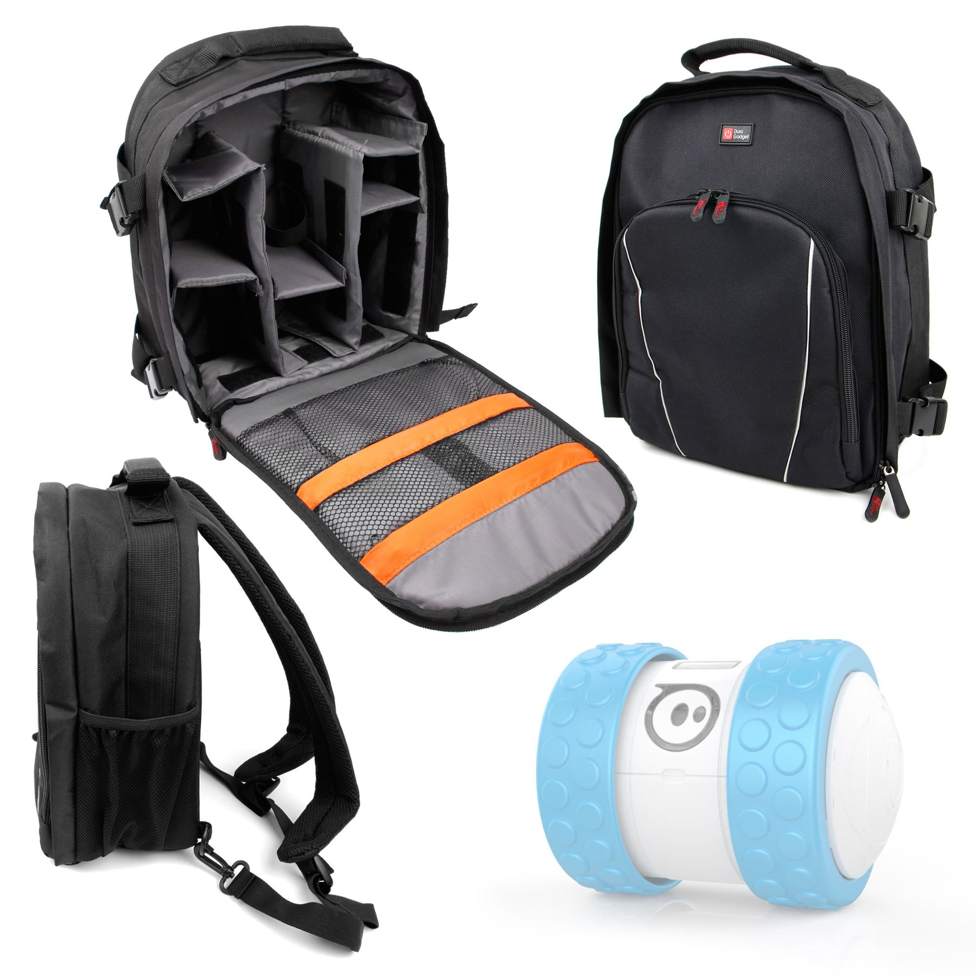 DURAGADGET Premium Quality, Water-Resistant Compact Backpack Organiser - Compatible with Sphero Ollie/Sphero Ball Robot - with Customisable Interior & Additional Raincover