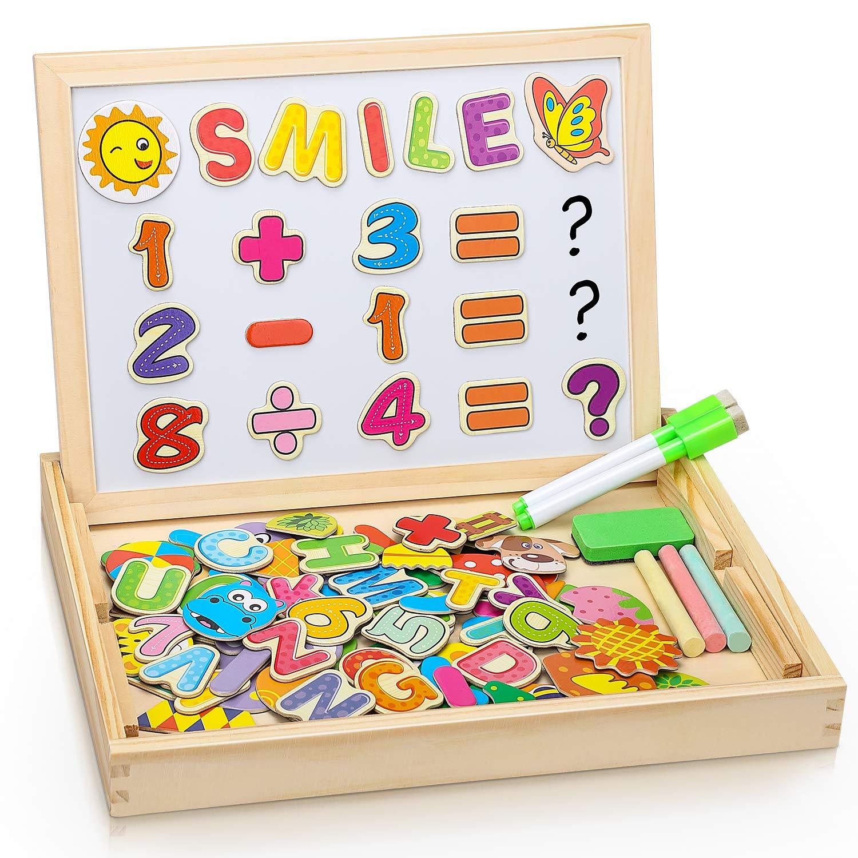 Puzzles Enfant en Bois Magnétique, Dookey Jigsaw avec Tableau Noir de Chevalet à Double Face Jouets Educatif pour Bambin Enfants Fille 3 Ans+ - Lettres et Chiffres - environ 100 Pièces product image