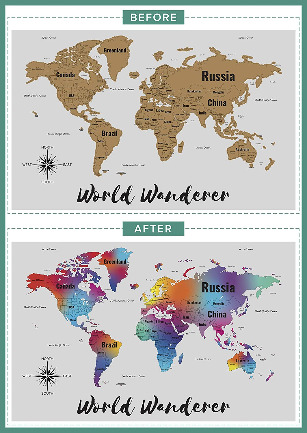 Travellers Gift with Tools and Memory Stickers Large Deluxe Edition Gold Peel off World Wanderers Scratch off Map of the World with United States and Canada State Boundaries