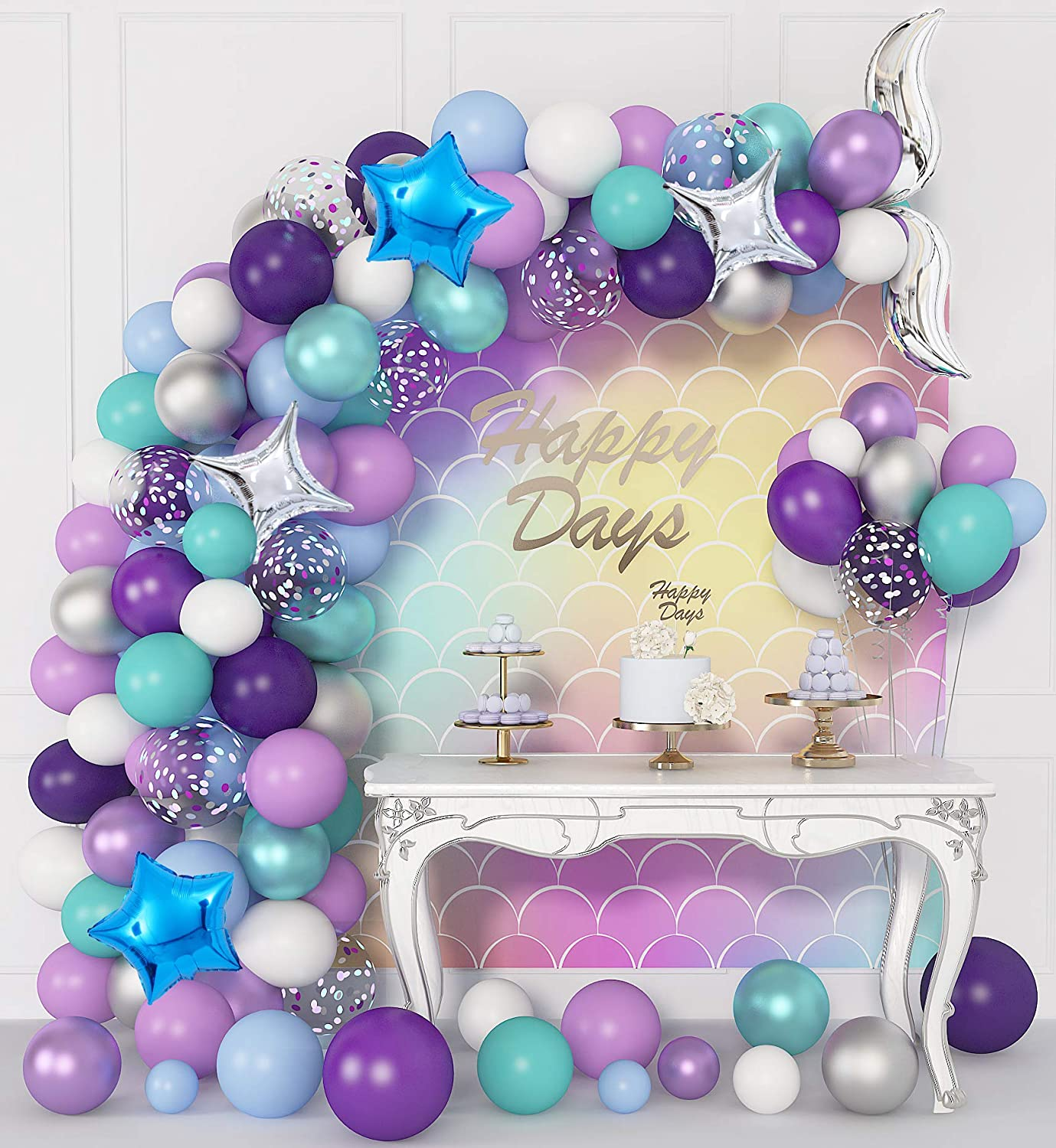 324 Pcs Mermaid Balloons Arch Garland Kit