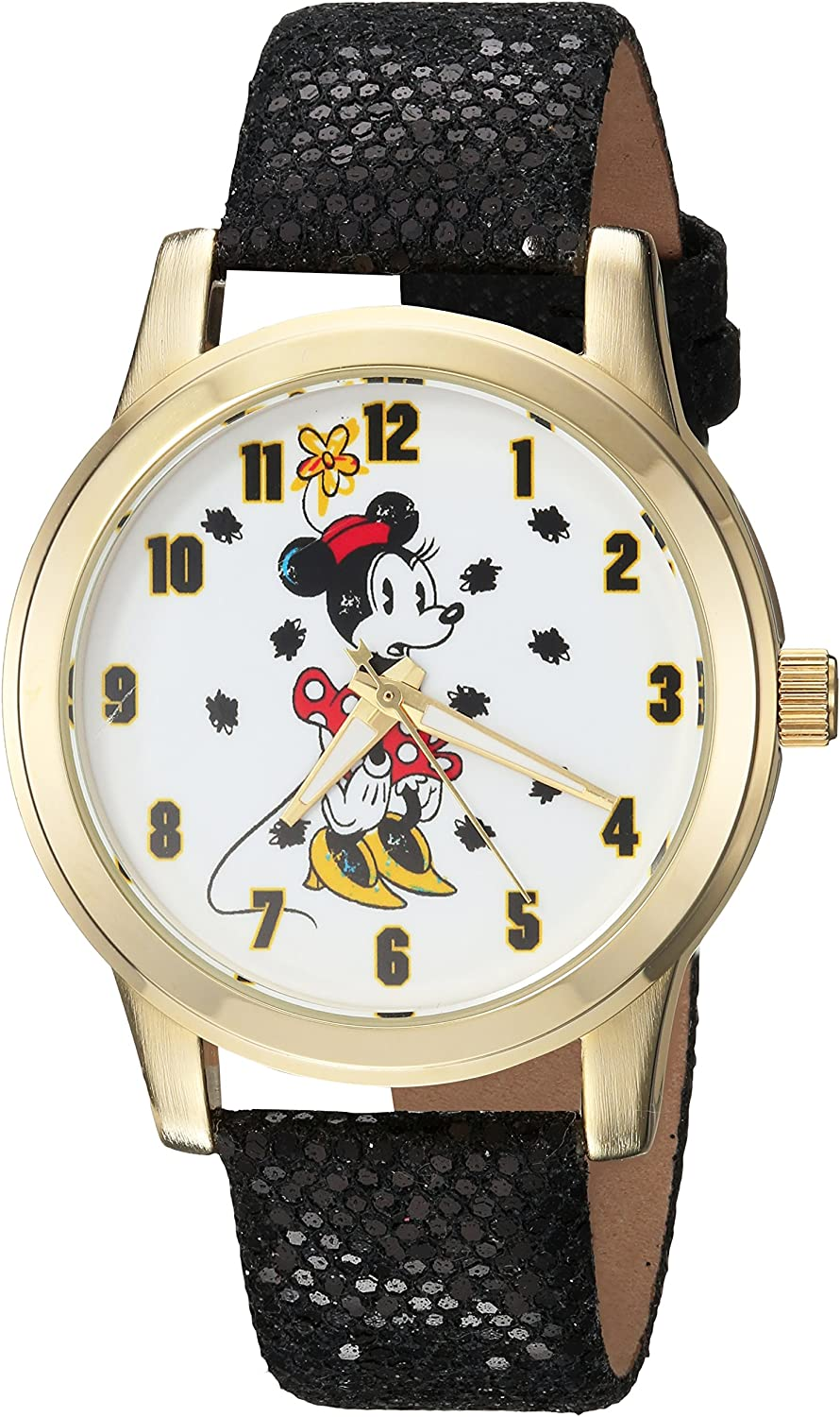 Disney Women's Minnie Mouse Watch Ranking TOP11 Leather-Syn We OFFer at cheap prices Analog-Quartz with