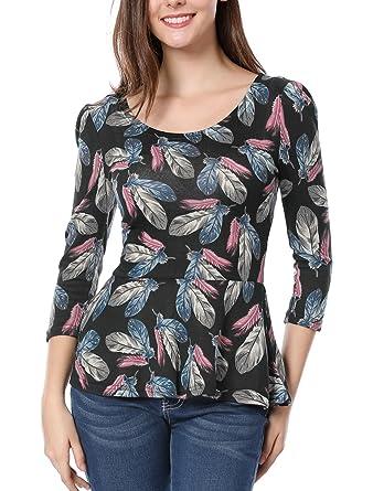 068ec70aa5ce59 Allegra K Women's Scoop Neck Feather Pattern Puff Sleeves Peplum Top XS  Black