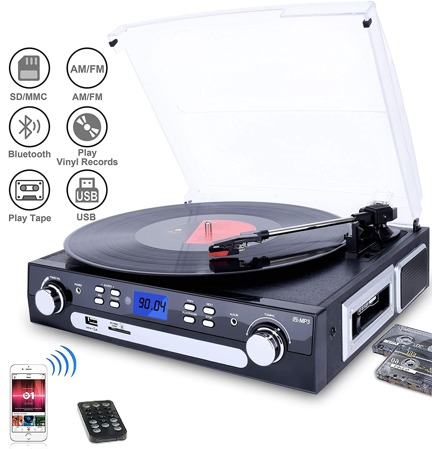 Digitnow! Bluetooth Viny Record Player Turntable, Cassette,Radio and Aux in with USB Port & SD Encoding- Remote Control,Built-in stereo speaker,Stand Alone Music Player ,Audio Built In Amplifier ( Please note: Long press around 5 seconds to power on) BR