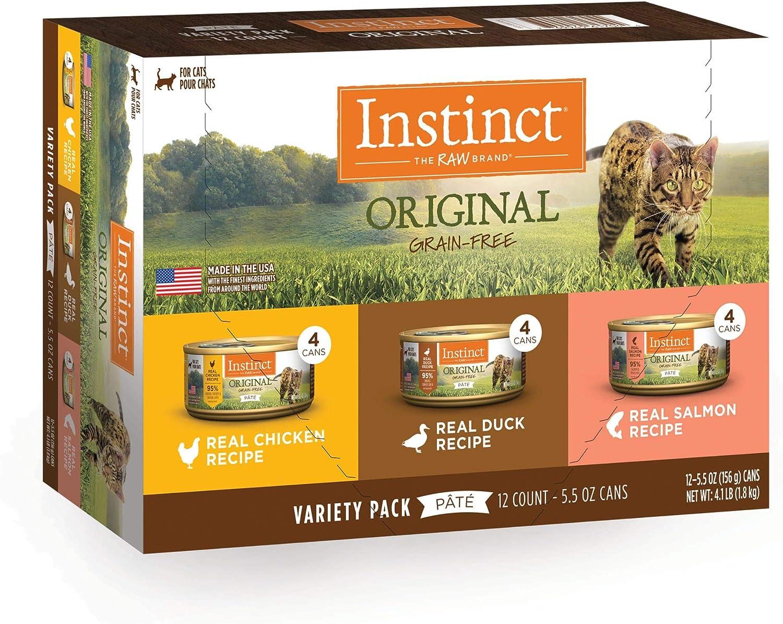 Instinct Original Grain-Free Pate Recipe Variety Pack Wet Cat Food, 5.5 oz., Count of 12