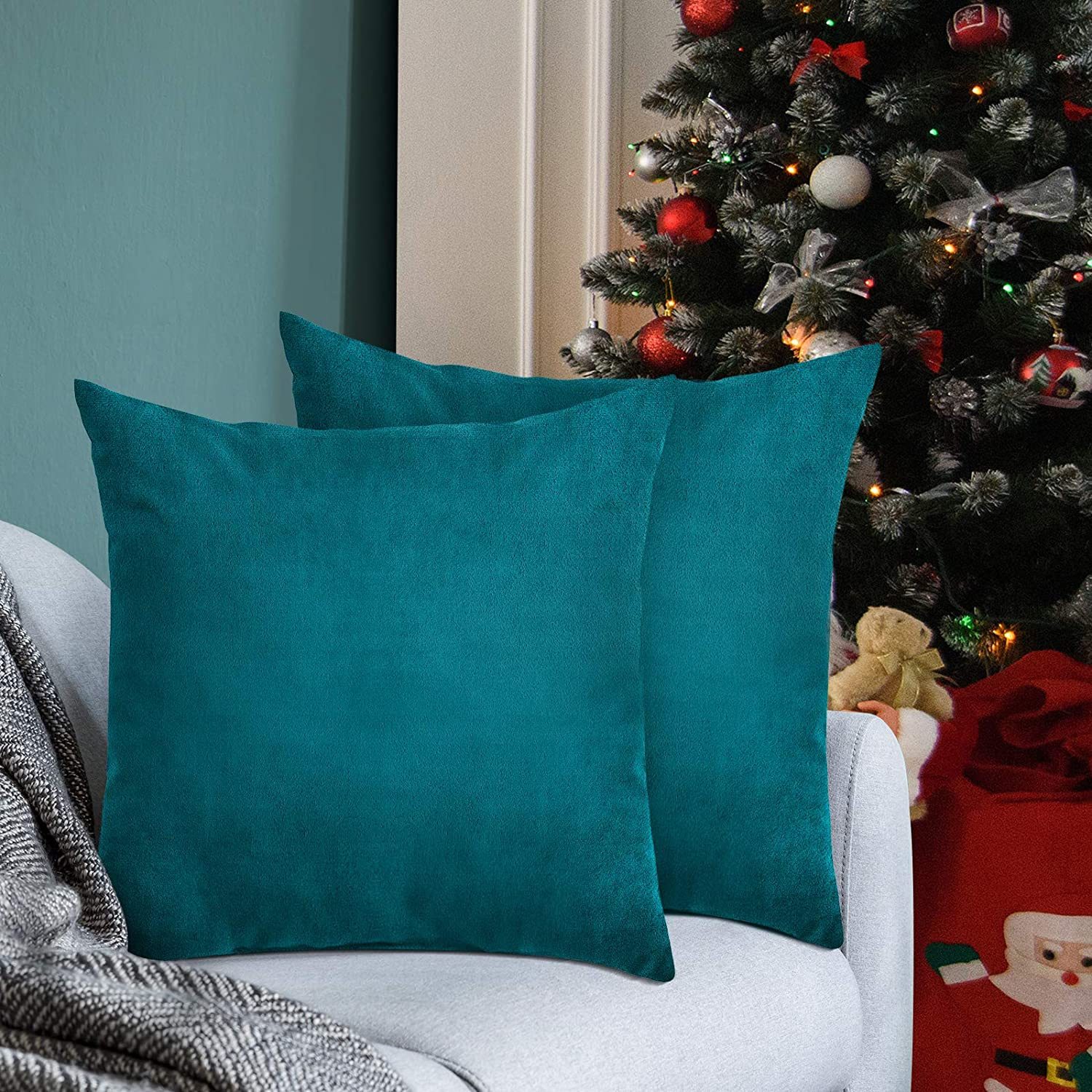 Syntus Pack of 2 Christmas Velvet Soft Throw Pillow Covers Square Decorative Pillow Cushion Case Teal Green for Home Decor Car Bed Sofa, 18 x 18 inches