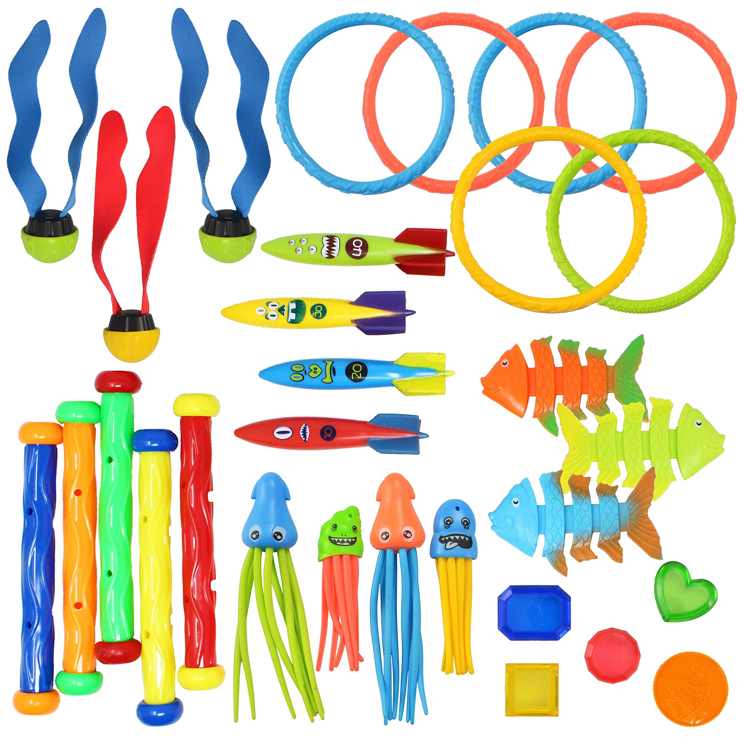 JOYIN 30 Pcs Diving Pool Toys Jumbo Set Includes (5) Diving Sticks, (6) Diving Rings, (5) Pirate Treasures, (4) Toypedo Bandits, (3) Diving Toy Balls, (3) Fish Toys, (4) Stringy Octopus