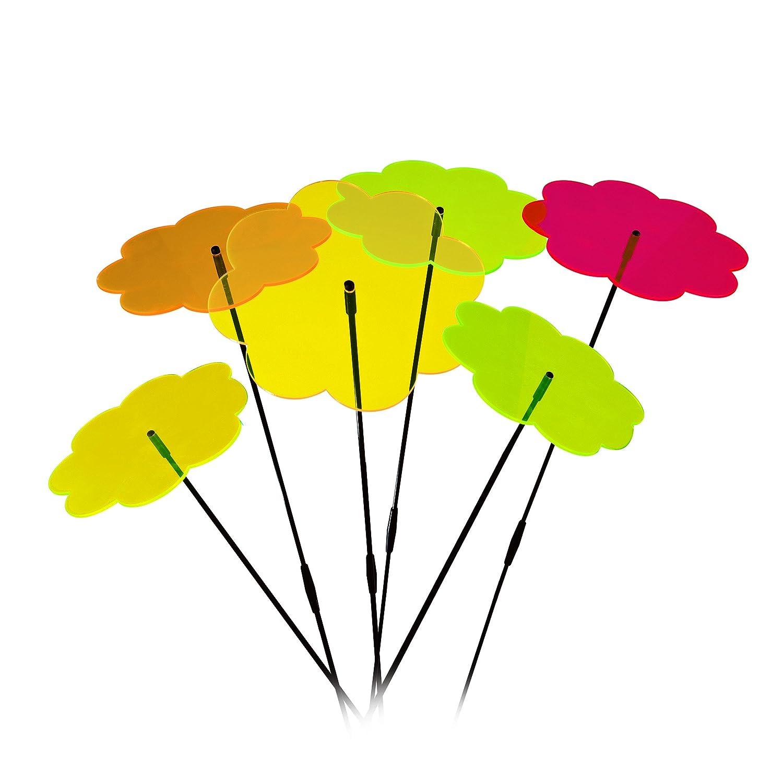 Fiori collettore solare–6di alta qualità collettore solare a forma di fiore con Ø 20cm diametro–incl. 12X 40cm in fibra di vetro Barre di vibrazione e 6X Anelli di congiunzione