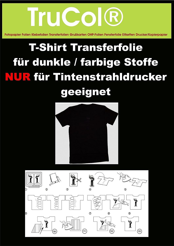 10Bl. T-Shirt Transferpapier DIN A4 für Dunkle Stoffe.Eine spezielle Transferfolie zum Bedrucken von schwarzen, farbigen, dunklen und hellen T-Shirts, Basecaps,Sweat-Shirts, Baumwoll-Taschen,Bettwäsche,Fahnen,....Sie erhalten 10 Blatt DIN A4 Transferfolie