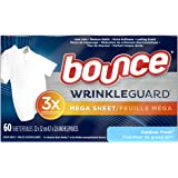 Bounce WrinkleGuard Mega Dryer Sheets, Fabric Softener and Wrinkle Releaser Sheets, Outdoor Fresh Scent, 120 Count (Pack…