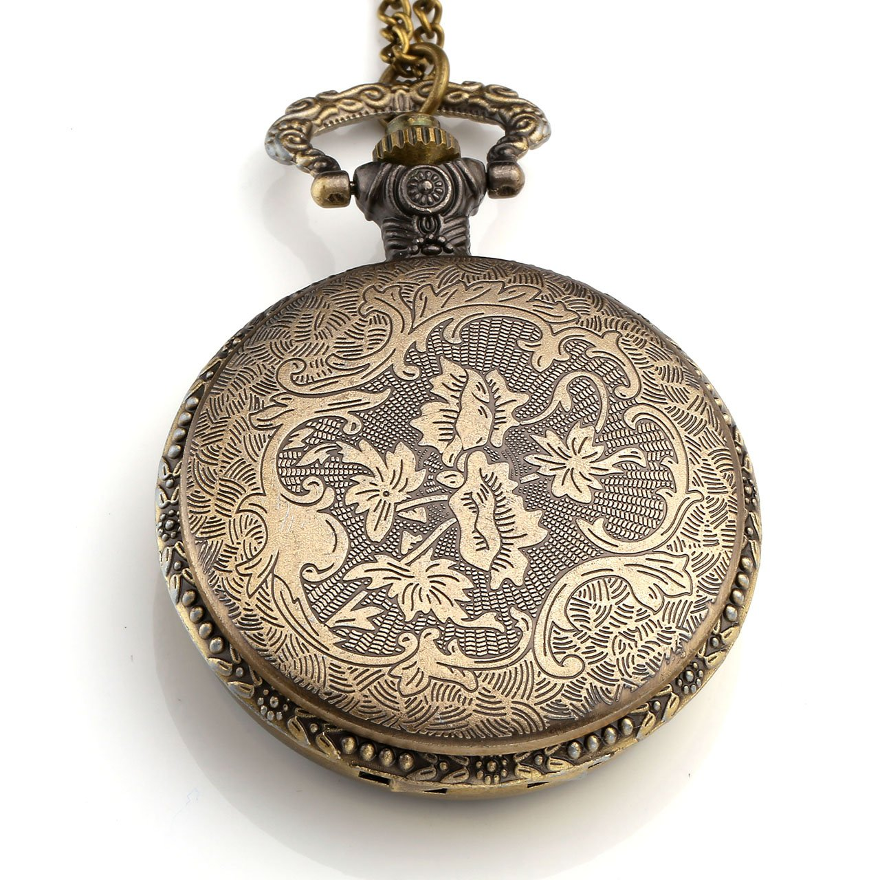 Top Plaza Unisex Antique Case Vintage Bronze Alloy Chain Quartz Pocket Watch Resin Dripping Flower
