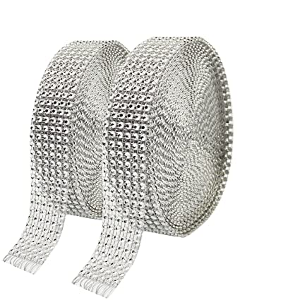 65635d3a491 Amazon.com  Metable 2 Rolls 6 Row 10 Yard Roll Acrylic Rhinestone Diamond  Ribbons Sparkling Mesh Ribbon for Wedding Cakes DIY Arts Crafts  Decorations  Arts