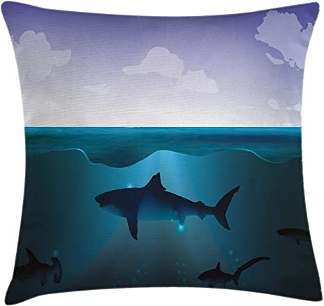 Amazon Com Ambesonne Underwater Throw Pillow Cushion Cover Wild Sharks Swimming In Sea Atlantic Ocean Peace Clouds Marine Design Decorative Square Accent Pillow Case 18 X 18 Navy Blue Home Kitchen