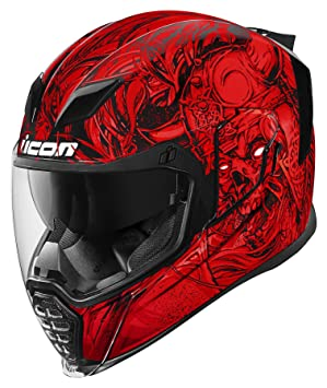 Icon Airflite Krom - Casco de moto, color rojo y negro
