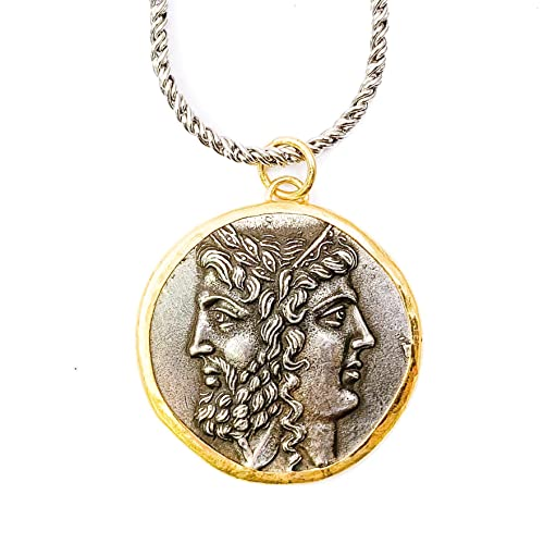 8fe6dec349bf6 Amazon.com: 24k Gold & Silver Antique Roman Janus Coin Charm ...