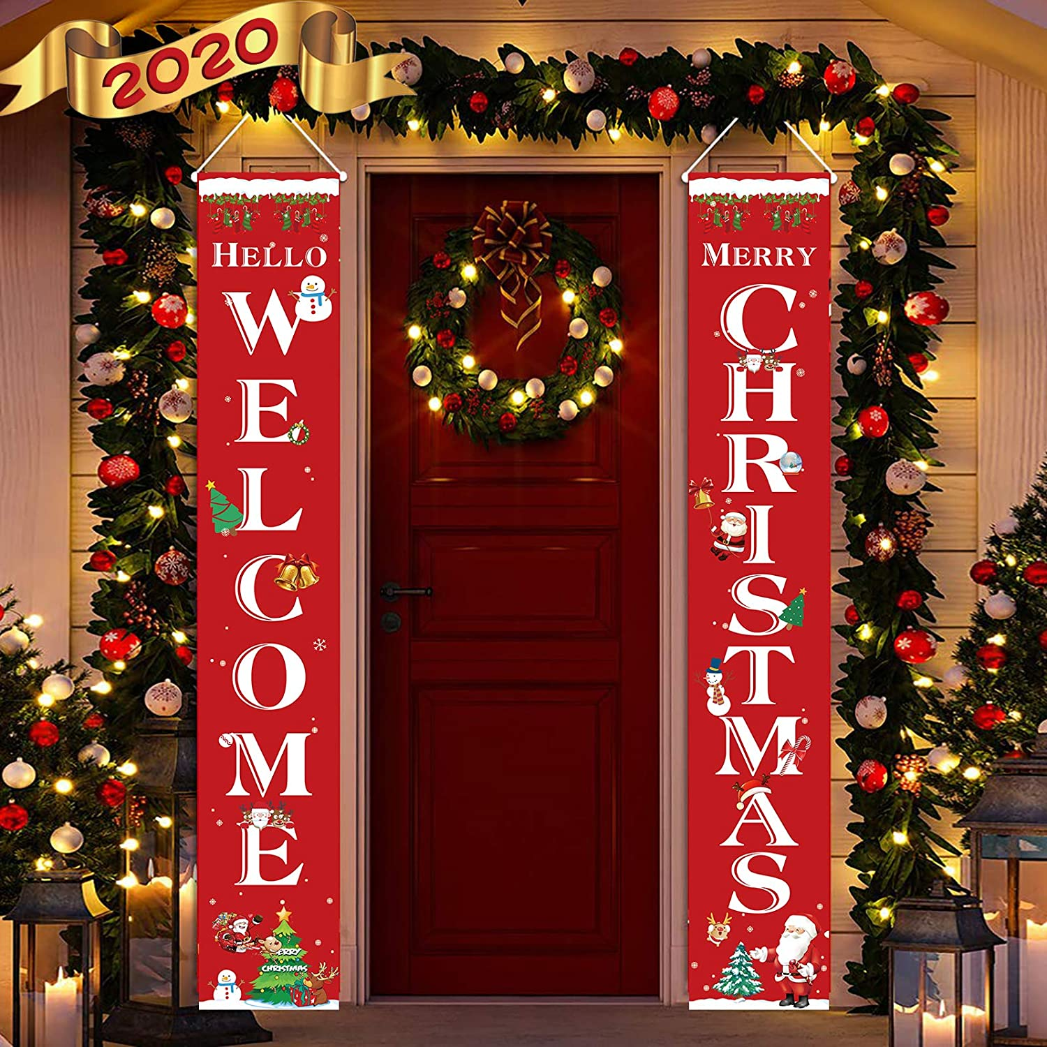 Christmas Decoration Porch Sign 2 Pieces - Welcome Merry Christmas Hanging Banners, Party Supplies for Holiday Home Outdoor Indoor Porch Door Christmas Decor - Red 2