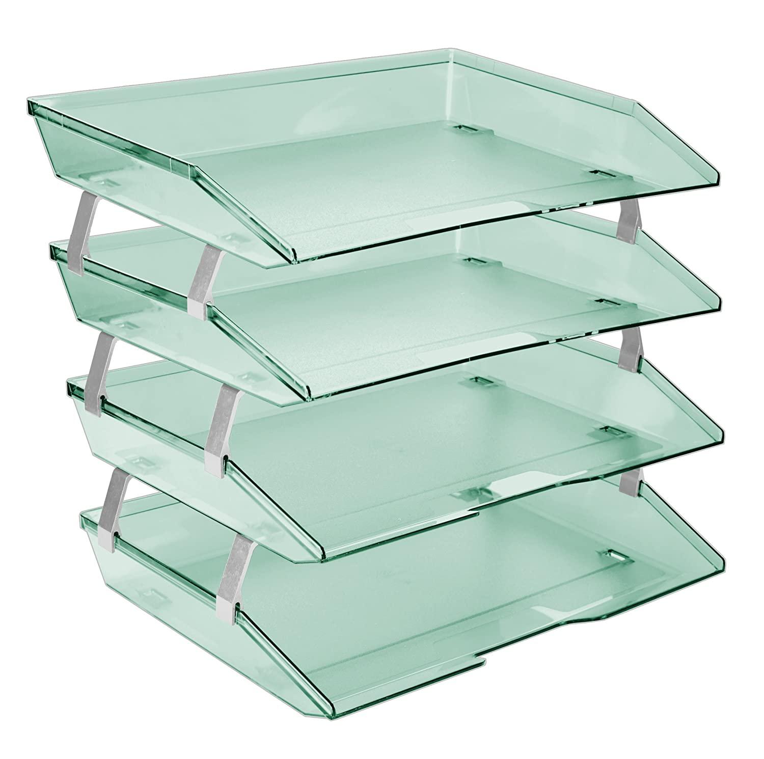 Acrimet Facility 4 Tier Letter Tray Side Load Plastic Desktop File Organizer (Clear Green Color)