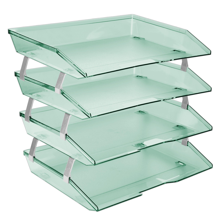 Acrimet Facility 4 Tier Letter Tray Side Load Plastic Desktop File Organizer (Clear Green Color) by Acrimet