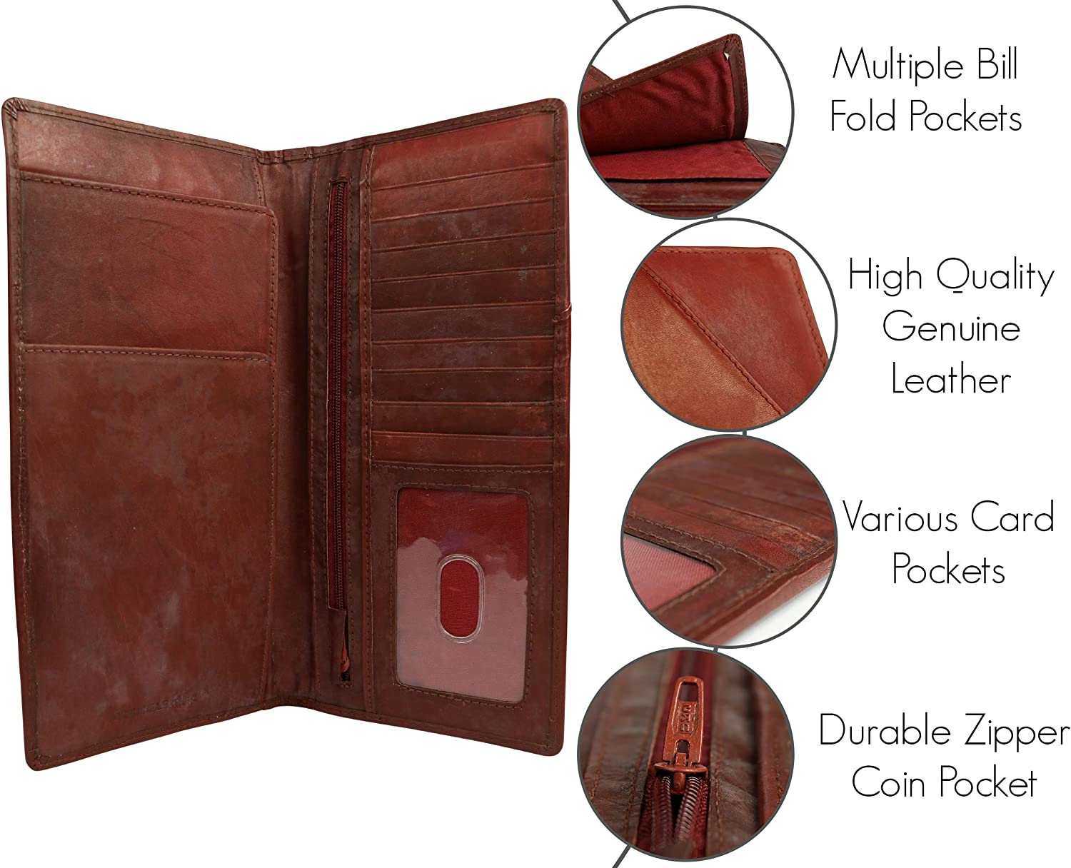 Red Brown Dwellbee Tall Leather Travel Document Organizer Mathani Cowhide