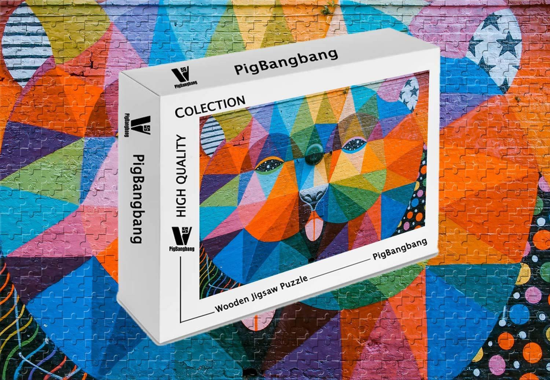 PigBangbang、手作り知育ゲーム難易度、ジグソーグルー 22.6インチ) プレミアム木製 - - アートグラフィティカラフルな動物壁 - 1500ピースジグソーパズル (34.4 X X 22.6インチ) B07G8VZDG2, calendar-world:e2619084 --- harrow-unison.org.uk