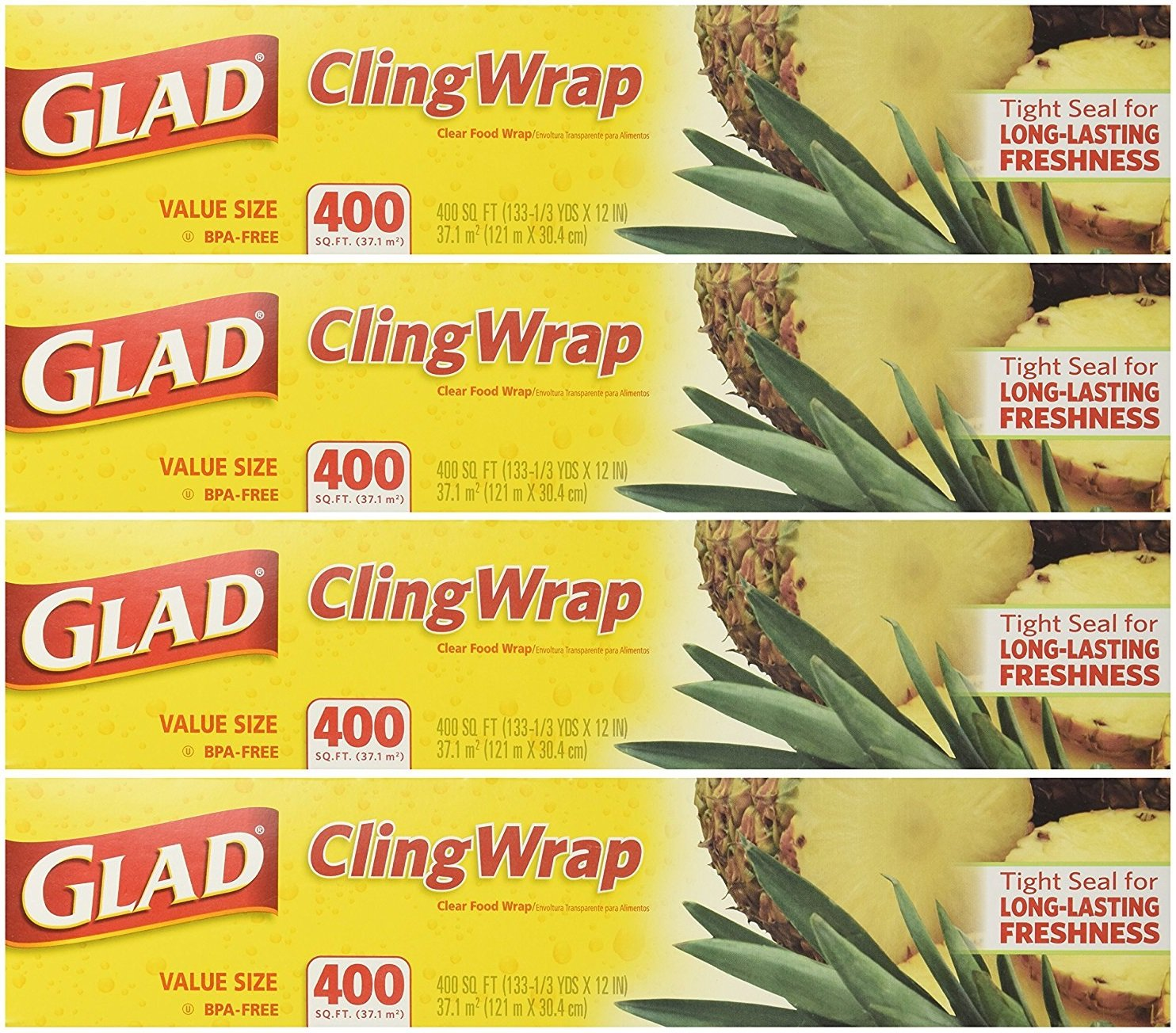 Glad Cling Wrap Clear Food Wrap, 400 Sq Ft Roll (Pack of 4 Rolls) by Glad