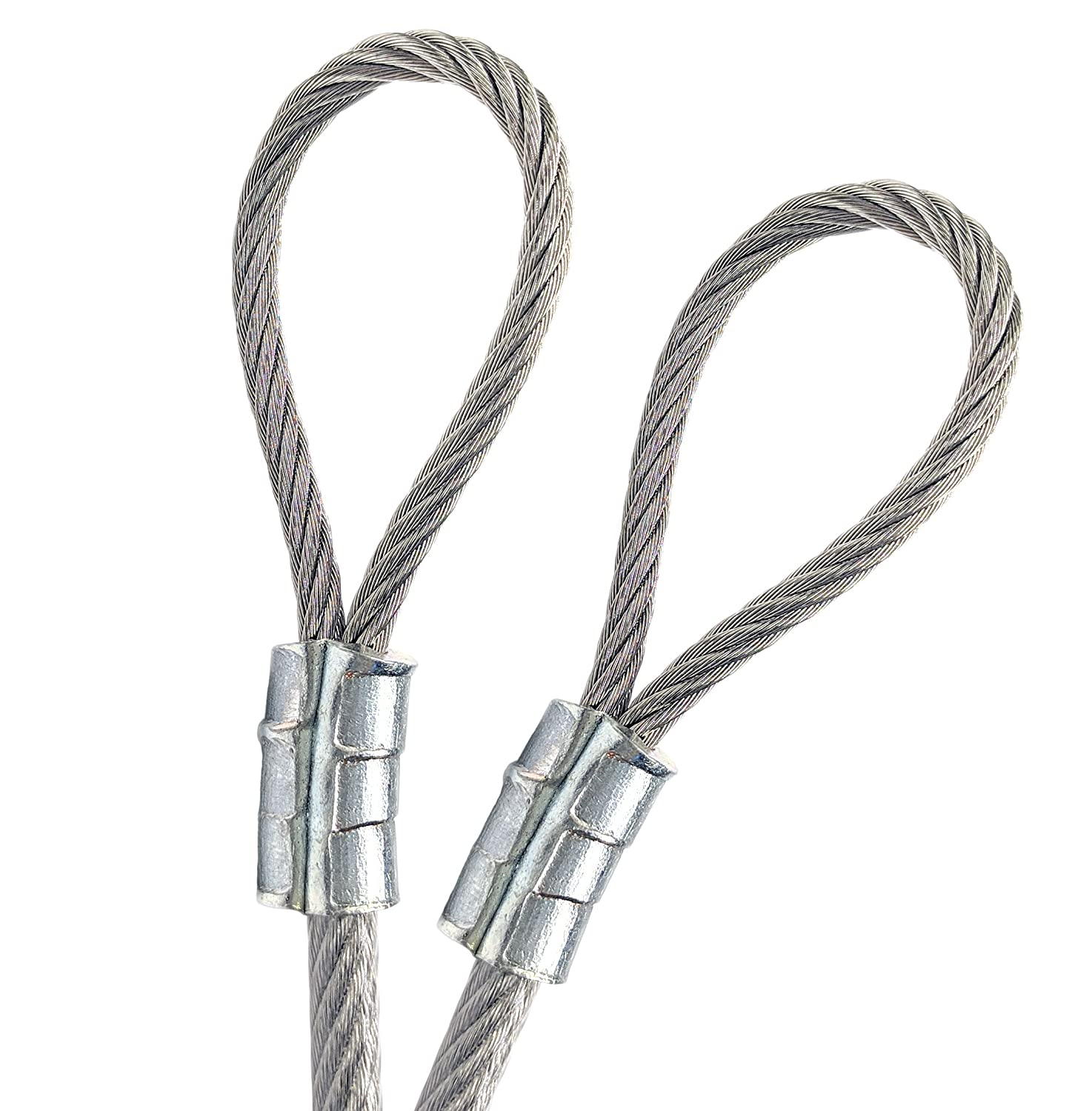 1//4 Vinyl Coated Galvanized Steel Cable with Looped Ends 3//16 Core Diameter 15 feet, Clear 7x19 Braids Flexible Multi-Purpose DIY Outdoor Safety Guide Wire Rope PSI