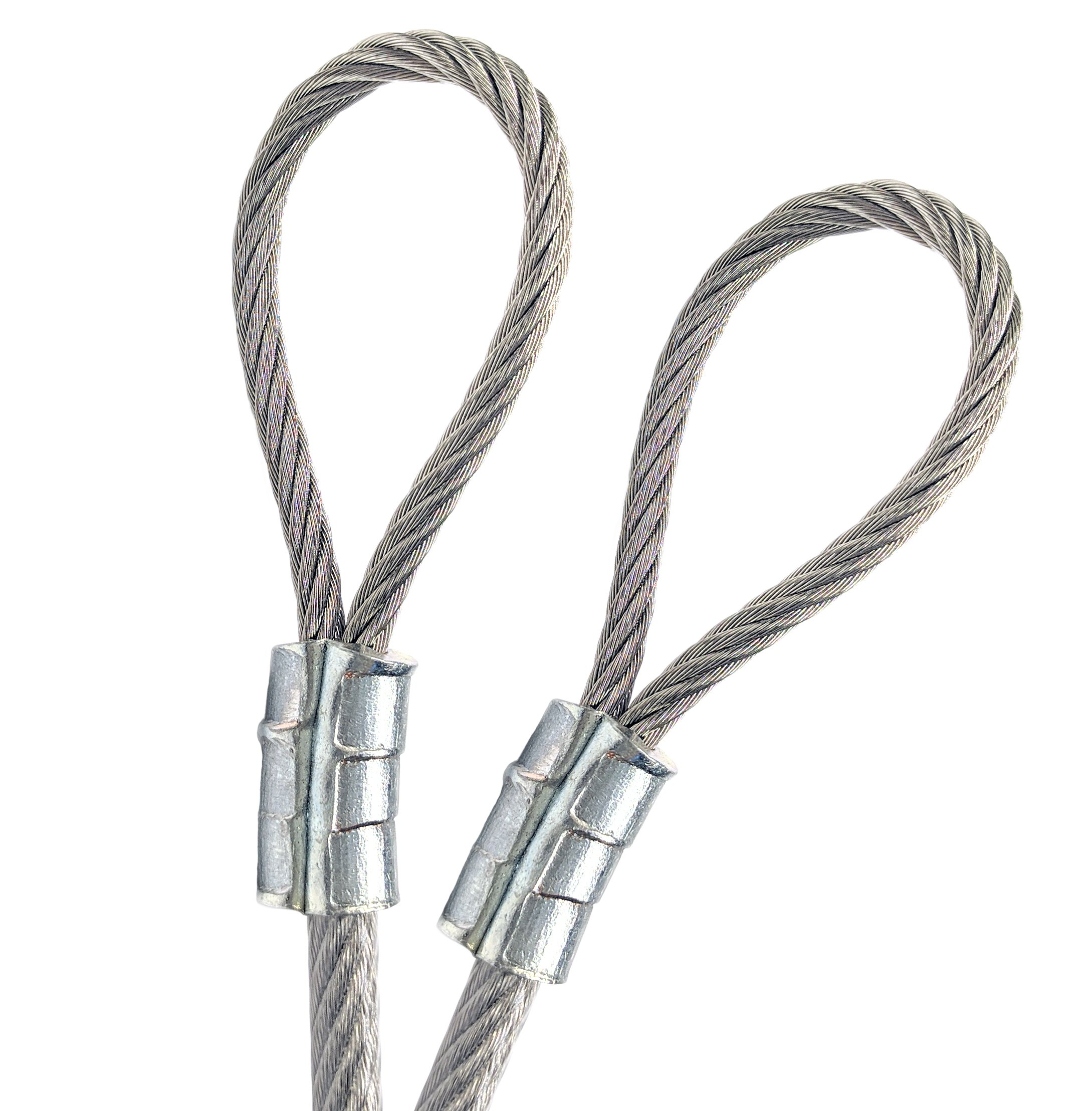 50ft Custom Cut Globe String Light Guide Cable Galvanized Steel Wire Rope 1/8'' - 3/16'' Vinyl Coated Double Loop Zinc Plated Sleeves Indoor Outdoor Clothesline Decorative Marine Commercial Application