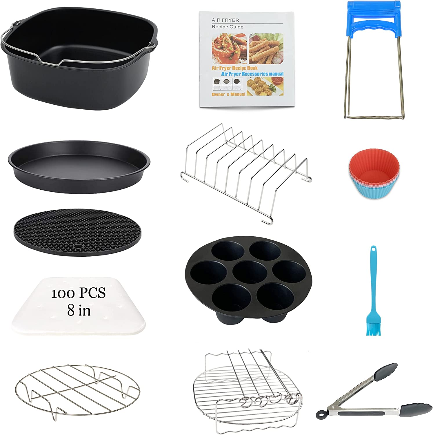 13PCS Air Fryer Accessories for Cosori Instant Vortex Phillips Gowise Ninja Air Fryer, Fit 3.2-4.0-5.8QT Square Air Fryer with Cake Pan, Pizza Pan, Silicone Baking Cups, Skewer Rack, Parchment Paper