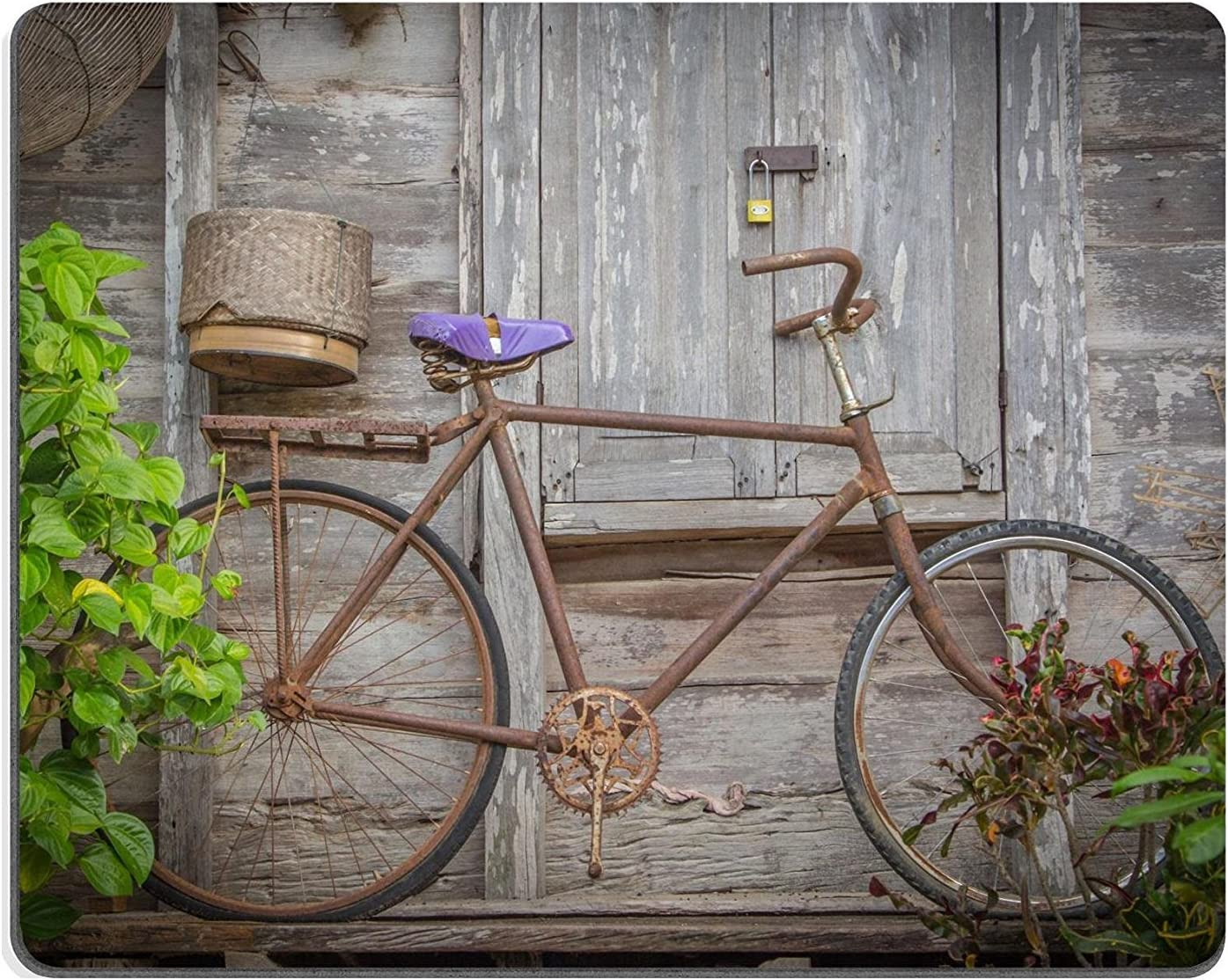 Alfombrilla de ratón de goma natural para bicicleta, estilo vintage, con óxido y bicicleta vieja: Amazon.es: Informática