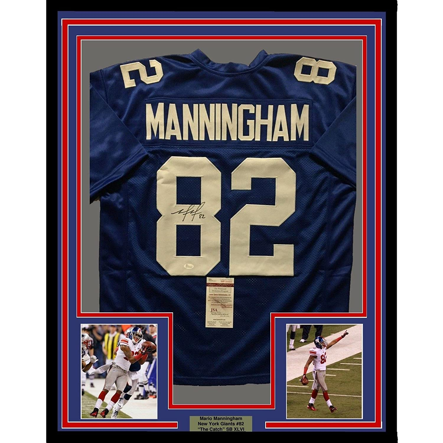 fe1ff952d7e Amazon.com  Mario Manningham Signed Jersey - FRAMED 33x42 NY Giants Blue  COA - JSA Certified - Autographed NFL Jerseys  Sports Collectibles