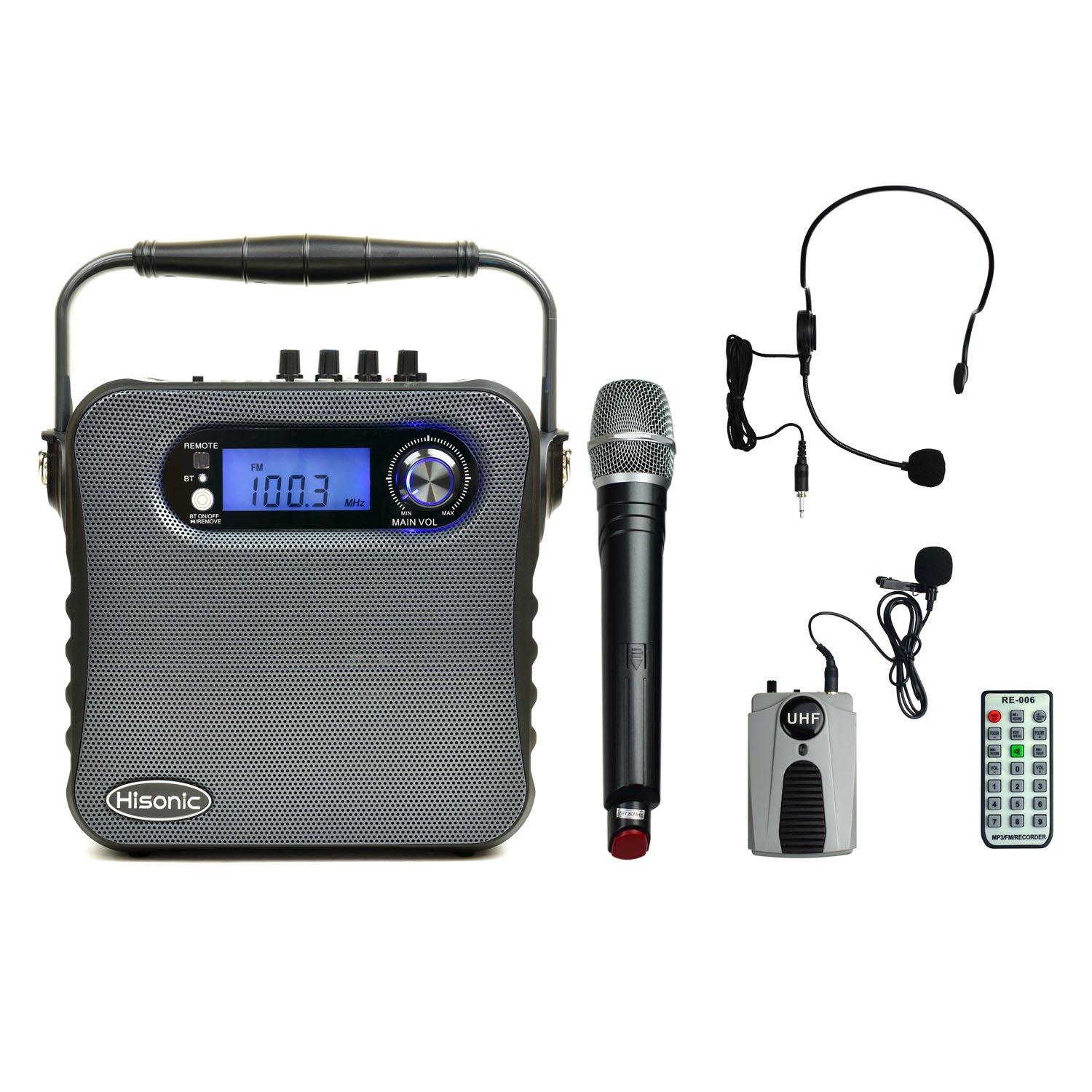 Hisonic HS488 UHF Dual Channel Wireless PA system with Bluetooth, MP3 Player, FM Radio and Voice Recorder, 90 Watts, Black Color with one handheld and one beltpack