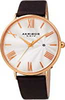 Akribos XXIV Men's Watch AK1041– Crocodile Embossed or Smooth Genuine Leather Band – Classic Round Case, Roman Numeral...
