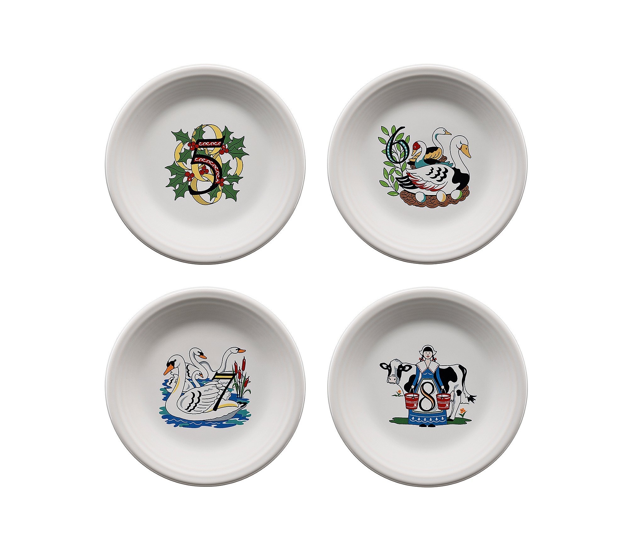 Fiesta 12 Days of Christmas Set of 4 Days 5-8 Plates