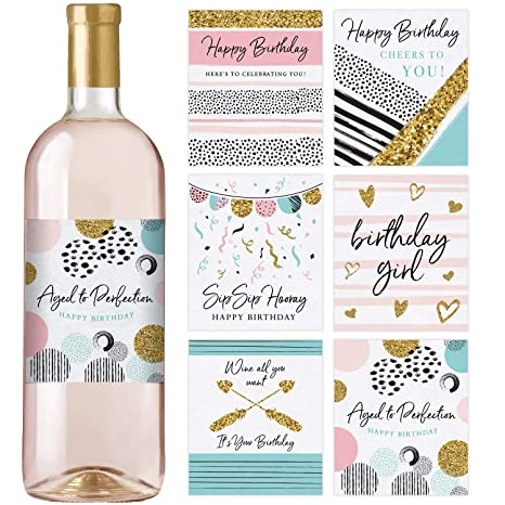 Amazon.com: Etiquetas para botellas de vino de cumpleaños ...