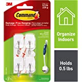 Command Wire Hooks, Small, White, 4-Hooks (17067-HWES)