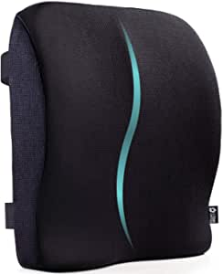 5 STARS UNITED Back Support for Office Chair - Memory Foam Lumbar Pillow - Large Perfect Cushion for Car, Computer and Desk Seat