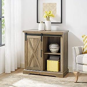 "WE Furniture AZF32ALXDRO Buffet, 32"", Rustic Oak"