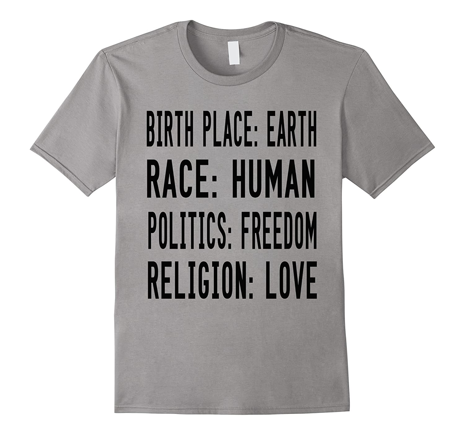 Birth Place EARTH Race HUMAN Politics FREEDOM Religion LOVE-Vaci