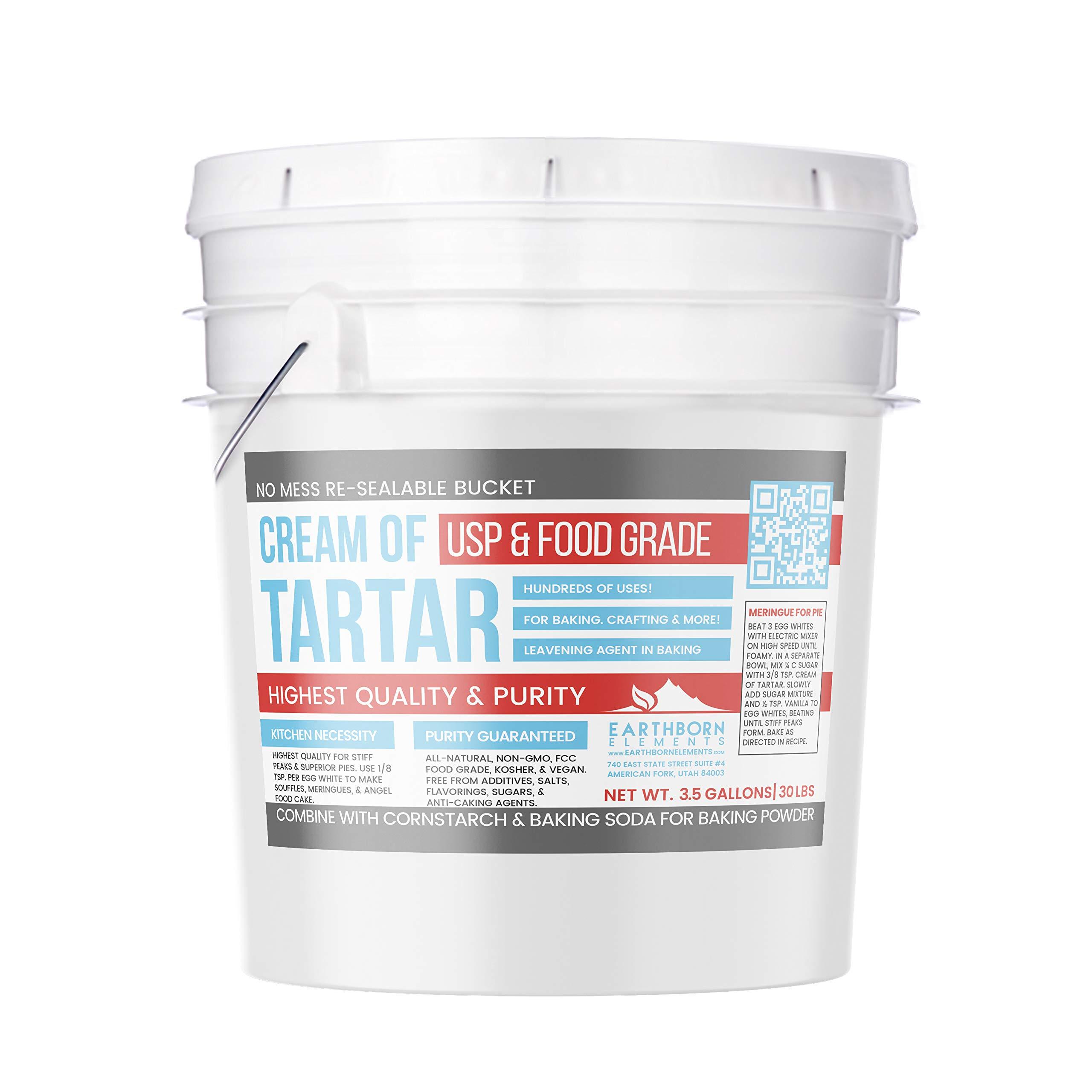Cream of Tartar (3.5 Gallon) by Earthborn Elements, Resealable Bucket, Highest Purity, Baking Additive, Non-GMO, Kosher, Gluten-Free, All-Natural, DIY Bath Bombs by Earthborn Elements (Image #1)