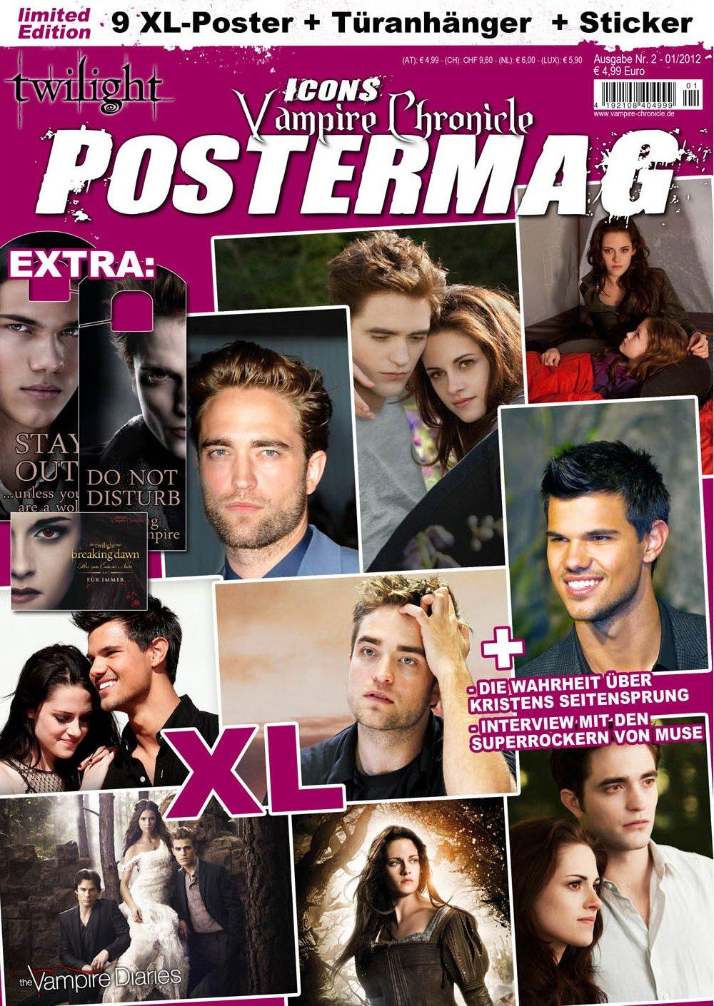 Icons Vampire Chronicle Postermag 2, inkl. 9 XL-Poster von Twilight, Robert Pattinson, Vampire Diaries + neue Hintergrundinfos über Kristen Stewart + Sticker + Türanhänger Broschiert – 31. August 2012 Thomas Vogel Media e. K. 394251530X Film Film / Genre