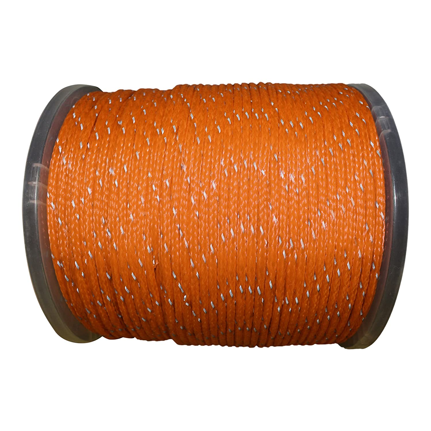 Hollow Braid Polyethylene Rope Outdoor Concerts Ski Slopes Path Marking Crafting 100/% High-Grade Polyethylene Cord with Reflective Tracers 1//4 inch 1,000 feet - Spool - Orange - SGT KNOTS