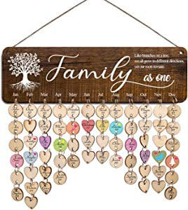 Zhuper Family Birthday Board Wall Hanging for Mom Grandma Family Tree Birthday Calendar Reminder Family As One Celebration Anniversary Plaque Sign Home Wall Decor DIY Birthday Present