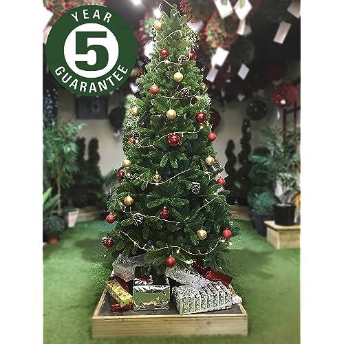 best artificial slim premium 7ft 205cm real feel hinged christmas tree with 1100 full pe - 7ft Slim Christmas Tree